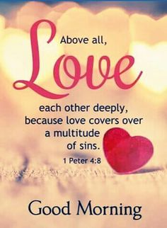 Bible verses about love. Above all, love each other deeply, because love covers over a multitude of sins. Morning Blessings, Morning Prayers, Good Morning Wishes, Good Morning Quotes, Morning Images, Gd Morning, Bible Verses About Love, Bible Verses Quotes, Quotes About God