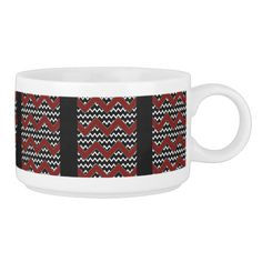 Black white and red chevron pattern.