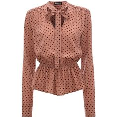 Deep Blush Polka Stevie Blouse (€335) ❤ liked on Polyvore featuring tops, blouses, shirts, v neck blouse, v-neck shirt, polka dot silk blouse, urban shirts and peplum tops