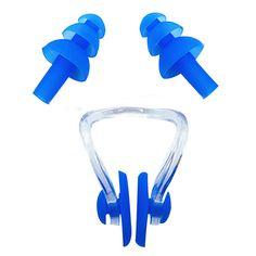 Infant Baby Swimming Accessories Children Unisex Silica Gel Solid Color Ear Plug & Nose Nasal Splint Set Kids Swim Safety Kit