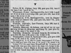 Delinquent Tax list for Apache County in 1893. St Johns Herald. 8 March 1894. ~Newspapers.com