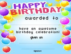 Birthday Certificate Templates Free Printable Prepossessing Esl Certificates Lesson Plan Templates Attendance Sheets .