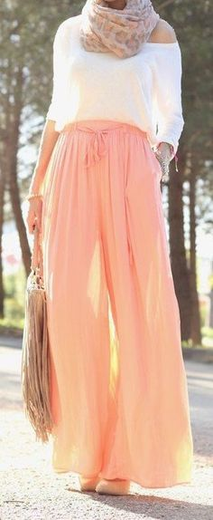 fall outfit ideas / peach palazzo pants + scarf