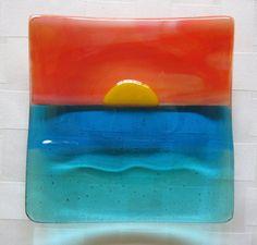 Fused Glass Sunset Plate Sunset Ocean Beach Dish by Shakufdesign