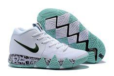 34508aa2e57 Latest Mens Nike Kyrie 4 White Glow Black Mint Green Basketball Shoes