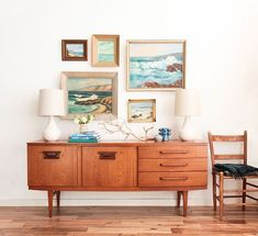 Emily Henderson highlights her coastal inspired paintings with this lovely mid-century credenza (modern coastal decor) Coastal Living Rooms, My Living Room, Home And Living, Retro Home Decor, Modern Decor, Mid-century Modern, Modern Coastal, Modern Furniture, Furniture Design