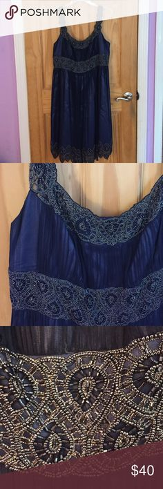 Blue Dress Only worn once! Beautiful beading, beautiful blue color! Great for a wedding or special occasion Adrianna Papell Dresses Wedding
