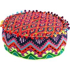 Set this colorful velvet pouf on a woven jute rug for a pop of boho style in the living room or library. Granny Chic Decor, Meditation Pillow, Cocktail Ottoman, Jute Rug, Floor Cushions, Joss And Main, Zig Zag, Artsy, Velvet