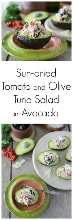 Sun-dried Tomato and Olive Tuna Salad in Avocado is a filling and healthy lunch idea! www.cookingwithruthie.com