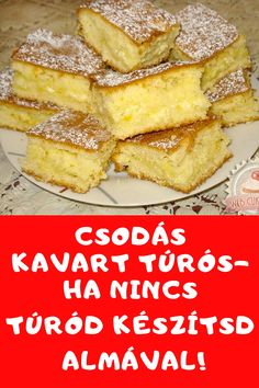 Csodálatos édesség. #sütemény #túrós #almás Hungarian Desserts, Hungarian Recipes, Apple Cake Recipes, Dessert Recipes, Vegan Desserts, Delicious Desserts, Wine Recipes, Cooking Recipes, Sports Food