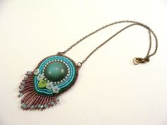 Bead embroidery pendant with resin cabochon and Czech beads