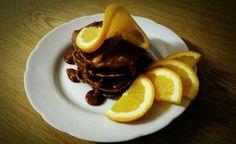 Banana-cinnamon pancakes with caramel.  #dormlife