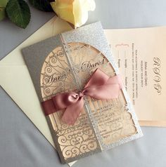 Personalized silver glitter laser cut pocket gate folding invitation w/ mauve ribbon door to happiness Wedding Invitation Free shipping by IvoryInvitations on Etsy