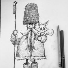 Rooshin Guy'o'viche.  Wizard of the Far North and his foxcat. In Russia steam punks you. #matthewart