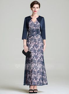 A-Line/Princess V-neck Ankle-Length Lace Mother of the Bride Dress With Ruffle (008072690)