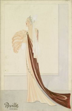 Design for court dress: salmon and plum, decollete, full length, train, feather fan, white veil. c.1930, by E. Reville.