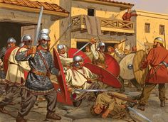 This is the rebellion of the Goths that lead up to the Battle of Andrianople. All the equipment is mid fourth century, note the use of the Spatha, the baldric on the left side, and the late Roman ridge helmet.