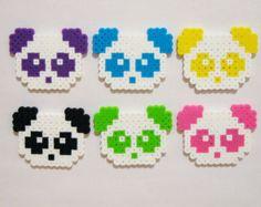 6pc PANDAS MAGNET SET // Kawaii Animals Colorful Panda Bears // Purple, Blue, Yellow, Black, Green, and Pink // Perler Beads
