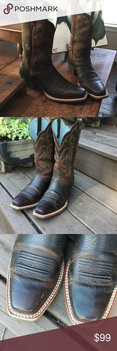 "Ariat boots Like new Ariat Legend cowboy boots. Comfortable square toe. 11"" shaft. Full-grain leather. ATS technology so comfy all day or night. Small scuffs on toe can be oiled. Just too small for me.  Ariat Shoes Heeled Boots"