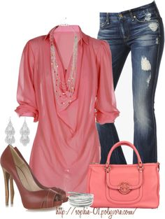 """""""Corals & Browns"""" by sophie-01 ❤ liked on Polyvore"""