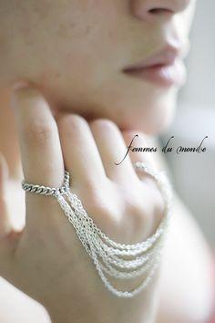 Silver Ring Chain - Ring Bracelet.