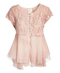 Mauve Crochet-Accent Linen-Blend Button-Up Top