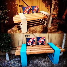 10 DIY summer projects for the outdoors: Colorful and easy cinder block bench puts large-scale garden furniture within reach.