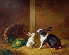 Two Rabbits oil on canvas, 1842 Artist: H. Baert