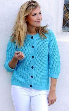 Strikkeopskrift på flot jakke med knapper | Fin kombination af teknik og farve | Gratis strikkeopskrifter