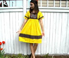 Sunny Days 70s Sunshine Yellow Embroidered Peasant by charlialana, $44.00