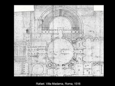 60. RAFAEL. SU OBRA ARQUITECTÓNICA MÁS SIGNIFICATIVA fue LA VILLA DE RECREO MADAMA, en Roma. El palacio fue comenzado hacia 1516 y acabándose en 1642. SÓLO SE REALIZÓ UNA PARTE DEL PROYECTO INICIAL. Se conoce el diseño de la planta porque se han conservado los dibujos de Antonio Sangallo el Joven que llevó a cabo las obras y las descripciones en una carta de Rafael. Se sabe que se proyectó con UN PATIO CENTRAL CIRCULAR, AL CUAL SE ANEXIONABA UN TEATRO DE PLANTA SEMICIRCULAR al modo romano.