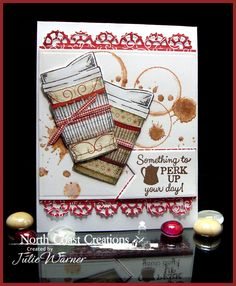 Stamps - North Coast Creations Warm My Heart, What's Brewin?, Our Daily Bread Designs Custom Layered Lacey Squares Dies, ODBD Custom Pennant Dies