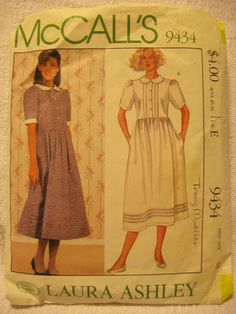 Womens Vintage Sewing Pattern 1980s LAURA ASHLEY Dress MCCALLS 9434 Sz 10 B32.5