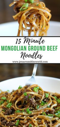This recipe for Mongolian Ground Beef Noodles came about as an effort to clean out the pantry after the holidays. Little did I know it would quickly become a family favorite! beef recipes for dinner main dishes 15 Minute Mongolian Ground Beef Noodles Ground Beef Recipes For Dinner, Healthy Dinner Recipes, Delicious Meals, Ground Beed Recipes, Dessert Recipes, Vegetarian Recipes, Ground Beef Recipes Asian, Chicken Recipes For Lunch, Ground Beef Meals Healthy