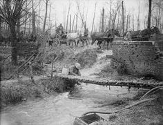 WWI, Nov 1916, Somme, Water refilling point, Ancre River, showing the causeway of the Mill Road, across it. ©IWM