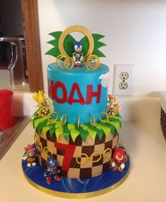Sonic the Hedgehog Cake.  Cake by Brandy's Cakes in Weatherford, TX.