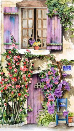 Decoupage Paper, Watercolour Painting, Windows And Doors, Beautiful Paintings, Home Art, Purple Door, Illustration Art, Art Houses, Drawings