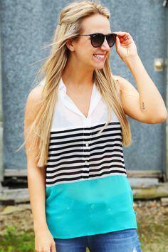 Color Block Stripes Tank {Aqua}