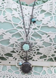 Mint, cream & lace for spring. Dress by @Anthropologie ., under-dress by me, locket pocket watch necklace by @Cheryl Sheeler