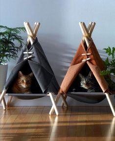 Handmade cat teepee or dog teepee Cat Bed Cat Kennel, Cat Tent, Cat Teepee, Diy Cat Hammock, Teepee Bed, Cat Room, Pet Furniture, Wooden Furniture, Furniture Design