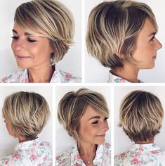 Cute Feathered Bronde Pixie-Bob How to look your best while growing out a short pixie? Start shaping it into a mini disconnected bob. Tucking a few strands behind one ear and sweeping the bangs to… Asymmetrical Bob Haircuts, Short Pixie Haircuts, Short Hair Cuts, Bob Hairstyles For Fine Hair, Trending Hairstyles, Short Hairstyles For Women, Cut Hairstyles, School Hairstyles, Beautiful Hairstyles
