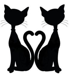 Cat Silhouette - Tails make a heart <3                                                                                                                                                                                 Plus