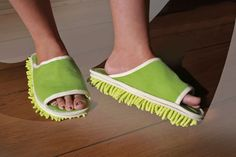 Floor Mop Slippers Comfortable slippers designed for easy cleaning, dusting, and mopping.  Keep your floor clean by simply walking around the house.