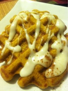 Pumpkin Pie Waffles with Cream Cheese Syrup