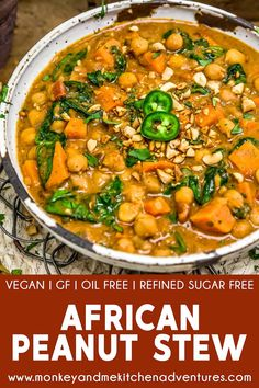 Fall just got a little more exciting with this fragrant, delicious, and soul-warming African Peanut Stew that is bursting with wholesome ingredients. Soup Recipes, Whole Food Recipes, Vegetarian Recipes, Healthy Recipes, Vegan Soups, Vegetarian Sandwiches, Vegan Stew, Going Vegetarian, Vegetarian Breakfast