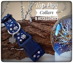Navy Snow Flake printed Dog Collar