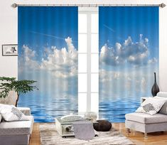 3D Sea Floating Clouds 2303 Curtains Drapes | AJ Wallpaper 3d Curtains, Printed Curtains, Creativity Inc, 3d Clouds, Europe Photos, Natural Scenery, Draped Fabric, Wall Murals, Home And Garden