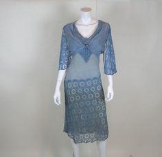 1920's Cornflower Blue Deco Dress w/ Matching Jacket
