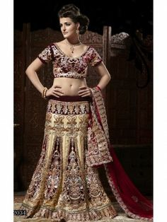 Beige and Maroon Lehenga Saree with matching Blouse. Discount Offer at - http://www.shaadibagz.com/catalog/product/view/id/7021/category/80/#.UpohG8ThI3k