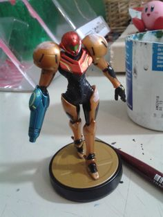 Here is my light suit Samus amiibo, w.i.p one. I have most of the black details done.